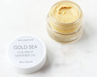 Gold Shimmer Body Oil SAMPLE | Beachy Coconut Body Glow | 100% natural and vegan
