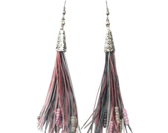 Beaded Tassel Earrings Long Bohemian Style in Soft Tones of Dove Grey, Silver and Pinks with Hypoallergenic Ear Wires