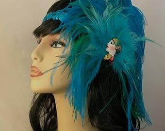 20s Flapper Headpiece, Great Gatsby 20 s Headband, Downton Abbey, 1920s Headband, 1920s Flapper Girl Headband, Turquoise, SHIP READY, OOAK