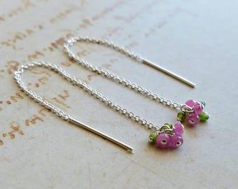 Pink Sapphire Threader Earrings, Pink Green Cluster Earrings, Tiny Threader Earrings, Pink Green Threader Earrings