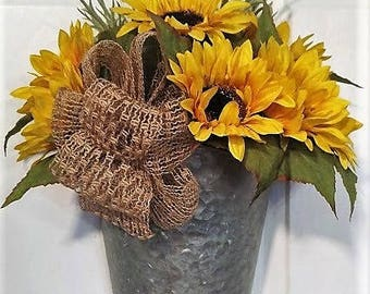 Sunflower Burlap Wreath Door Hanger Swag Teardrop Wall Decor Galvanized Metal Farmhouse Decor Country Decor