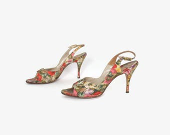Vintage 50s FLORAL Print HEELS / 1950s Peep Toe Slingback Pumps Shoes 9-10
