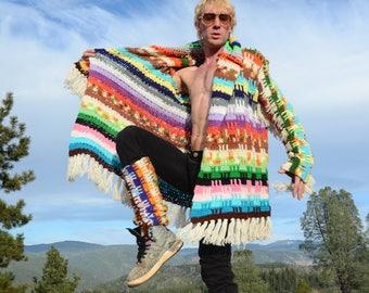 Crochet Sweater Robe Native Flash and Fringe Plus Free Legwarmers