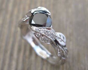 Engagement Ring With Black Stone, Black Leaf Engagement Ring, Diamond Leaf Engagement Ring, White Gold Ring, 18k Natural Leaves Ring