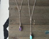 Amazonite OR Amethyst Y Necklace // Sterling Silver // 925 Silver