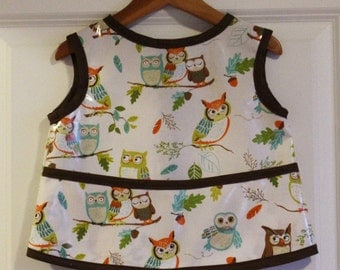 Toddler Baby Feeding Bib Art Smock in Cream with Owls