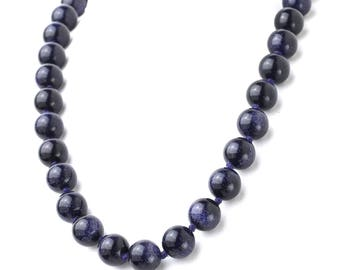 Hand Knotted Genuine Blue Goldstone Necklace with Sterling Silver 925 13mm