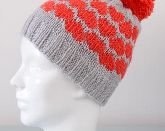 Red Heart Fair Isle Beanie Hat - Grey Modern Knitted Merino Wool Pom Pom Valentine's Day Gift for Her Winter Accessory by Emma Dickie Design