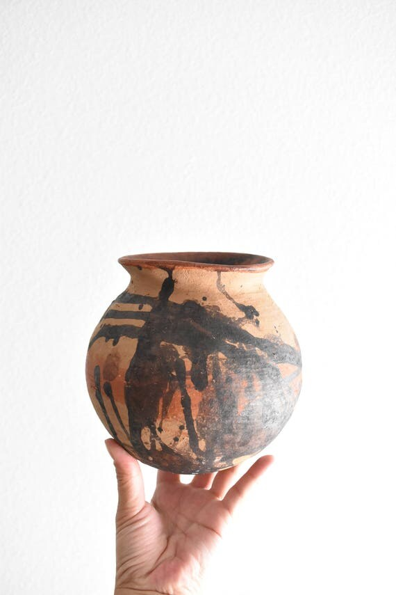 small mexican red clay terra cotta pot / vase