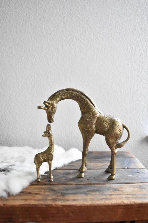 vintage large pair of heavy solid brass giraffe figurine / mother and baby / nursery decor