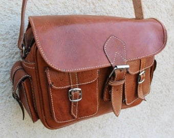 Men's Genuine Leather messenger, laptop bag! Camera bag! Mens shoulder bag! Leather briefcase