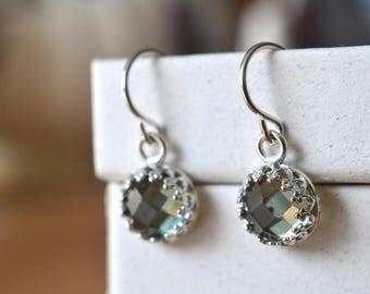 Green Spinel Earrings, Dangly Sterling Silver Earrings, 8mm Green Gemstone Dangles, Created Spinel Drops, Bridal Earrings, Wedding Jewelry