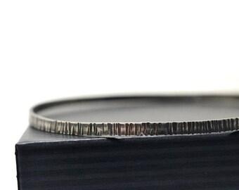Tree Bark Bangle, Oxidized Silver Bangle, Birch Bark Bangle, Hammered Bangle, Rustic Textured Silver Bangle, Handmade Sterling Bracelet