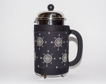 "French Press ""Bean Belt"" Coffee Cozy - ""Compass Rose"" Black, Nautical French Press Cosy, Bodum Cosy, Cafetiere Cosy, French Press Cozy"