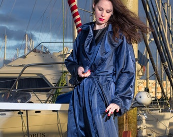 Azzedine Alaïa -  1980s  Alaïa Over-Size   Midnight-blue Trench Coat  Vintage Alaïa Collections Alaïa