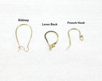 UPGRADE Ear Wire.. Sterling Silver, 14k Gold Filled, 14k Rose Gold Filled,