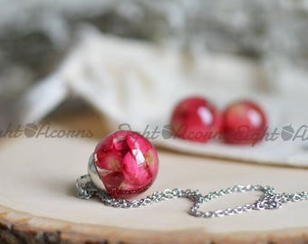 Rose petal necklace, real flower jewelry, flower necklace, romantic jewelry,  rose jewelry, rose petals flower girl gift