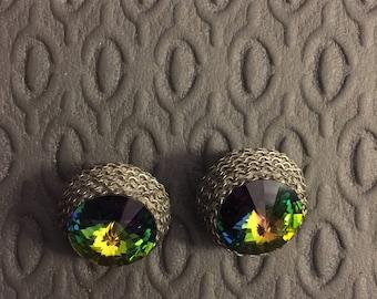 Vintage 1980s aurora borealis woven metal clip-on earrings