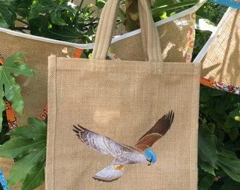 Kestrel falcon hand painted jute bag