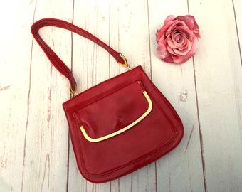 Vintage Mod Bag - Red Vintage Bag - Vintage 60s Bag - Mod Red Handbag - Faux Leather Bag