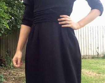 1950s Black Dress - Jeanne D'arc Dress - Vintage Wiggle Dress - V Back Dress - 50s Evening Dress - Size 8 - Goodwood