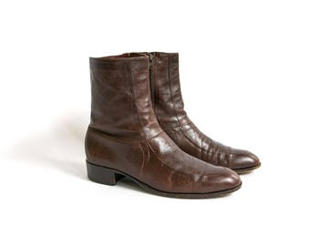 Vintage 1960's Brown Florsheim Imperial Tall Leather Boots, Zip Up Beatle Boots, 60's Mod, Men's Dress Shoes, Size 9 1/2
