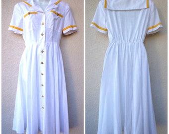 1980s Sailor Collar DRESS. Nautical Dress. 1950s Style Dress. White Sailor Dress. Full Skirtt. Gold Trim. Military Style Buttons.1940s Style