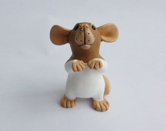 Agouti Brown Hooded Dumbo Rat Fancy Rat Sculpture Pet Rat Ornament Polymer Clay Mouse