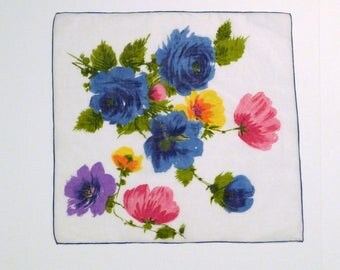 Roses Hankerchief Vintage Blue Roses and Poppies Handkerchief White Floral Hankie Flower Gardener Hanky 1950s 1960s Pocket Square Bouquet