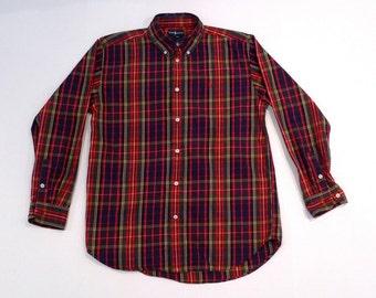 Navy Blue and Red Plaid Shirt Unisex Size 20 XL Boys Vintage Polo Ralph Lauren Button Down Shirt Children Girls Teens Women Plattermatter