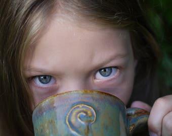 Hand Made Coffee Mug, Pottery Mug, Ceramic Mug, Hand Made Clay Mug, Pottery, Bleeding Hearts, Rustic Pottery Mug, Boho Mug, Christmas Gifts