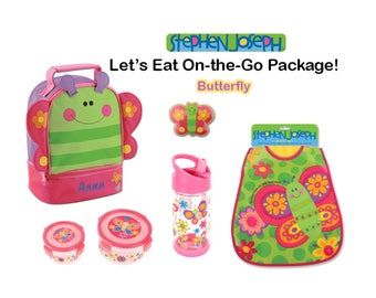 """Personalized """"Let's Eat"""" 6-Piece Butterfly Package by Stephen Joseph"""