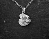 Sterling Silver Pig Head Pendant on a Sterling Silver Chain.
