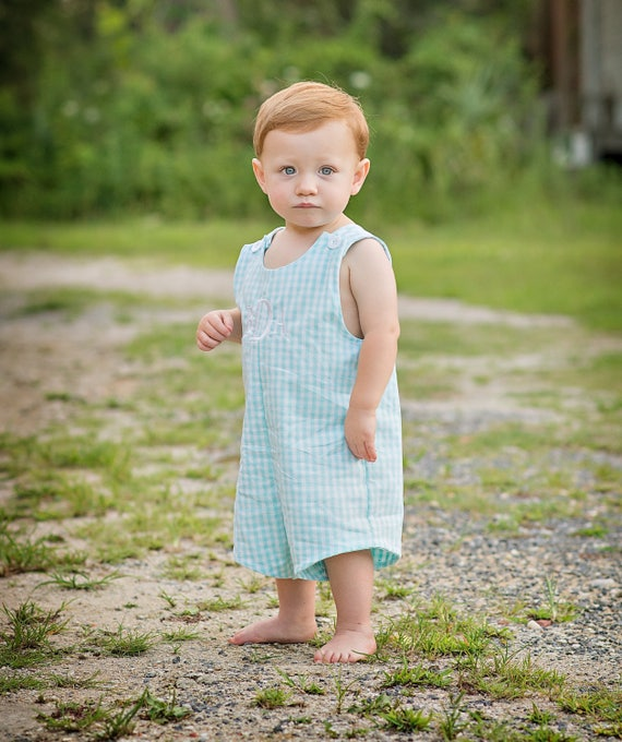 Baby Boy Seafoam Blue Gingham Jon Jon, Monogram included.