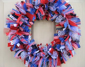 Patriotic Wreaths, July 4th Wreath, 4th July Wreath, Patriotic Decor, Red White Blue Wreath, Military Decor, Fabric Ribbon Wreath