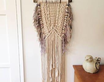 Macrame Layered Wall Hanging 100% Cotton Tapestry BOHO Luxury Yarn Purple Gray