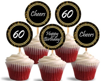 60th Birthday Cupcake Toppers, Cheers to Sixty Printable Cupcake Toppers, 60th Theme Party Decorations - Instant Download - DP478