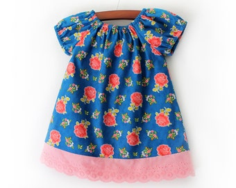Indigo blue and carnation pink rose boutique peasant dress in Sizes Newborn up to girls Size 8
