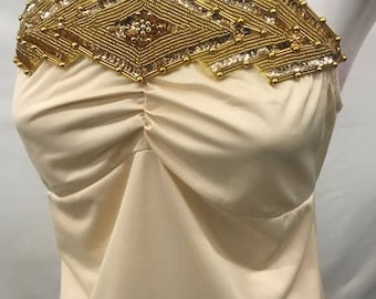 """Gold  Beaded, Pearl & Sequin Diamond Shaped Applique 12"""" in Length and 3.25 in Width  Used as Beautiful accent for strapless gown. Costumes"""