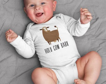 Baby boy clothes, Holy Cow baby bodysuit, baby boy bodysuit, short sleeve, long sleeve, 3 months - 18 months, baby shower gift