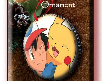 Pokemon 'Ash and Pikachu' Wood Decoupage Ornament, 3 inch disc with wood burned edges.