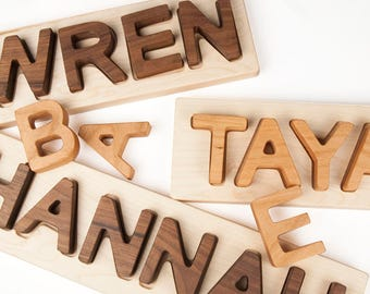 Name Puzzle, personalized wooden name puzzle // Montessori Baby Toy // custom handmade wood puzzle