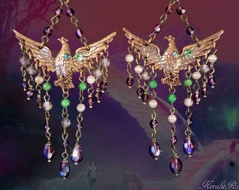 Spirit Animal Flying Eagle Chandelier Earrings, Purple, Lime Green, Peach, Rising Phoenix Bird Earrings, Mythical Jewelry, Hawk Totem