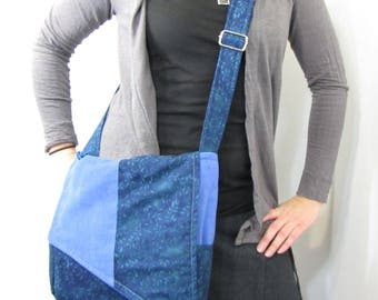 Corduroy Slant Messenger Bag Blue Leaves