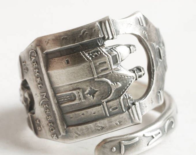 Monterey California Mission Ring, Sterling Silver Spoon Ring, Carmel California Mission Souvenir, Gift for Her, Adjustable Ring Size (6745)