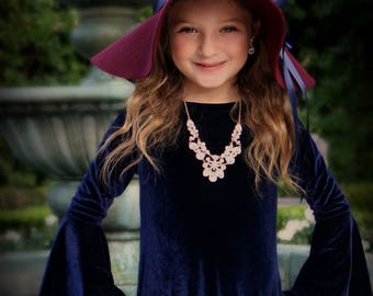 Boho Flower Girl, Velvet dress, Angel Sleeve, Available in many colors, Made in the USA by Mia Loren Boutique