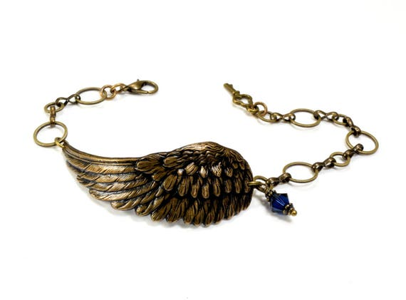 ANGEL Wing Jewelry PERSONALIZED Angel Wing Bracelet REMEMBRANCE Jewelry Grief Remembrance Bracelet SteamPunk Jewelry By VictorianCuriosities