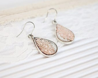 Rose Gold Drop Bridal Earrings, Blush Pink Earrings, Rose Gold Dangle Earrings Bridesmaid, Teardrop Wedding Earrings, Chandelier Earrings