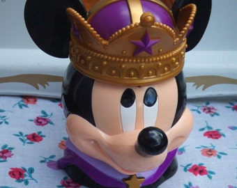 Vintage Mickey Mouse Lidded Cup. Prince Charming Mickey. Hinged Lid. Disney.