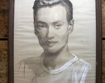 Vintage Framed Charcoal Drawing of a Handsome Man - 1950's original art